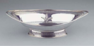 An English silver bread-basket
