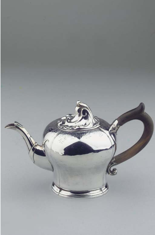 A small Dutch silver teapot
