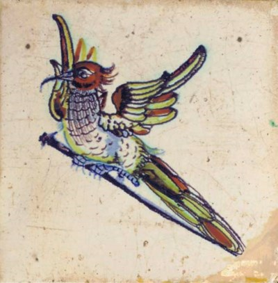 A rare Gouda polychrome 'bird