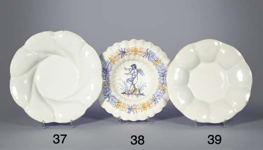 A white Delft gadrooned dish