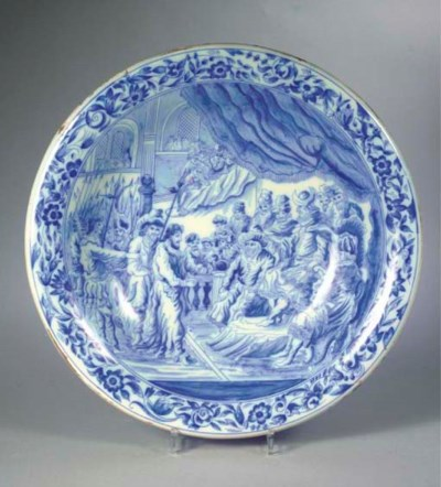 A large Delftware blue and whi