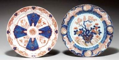 (2) Two Delft doré 'Imari' pla