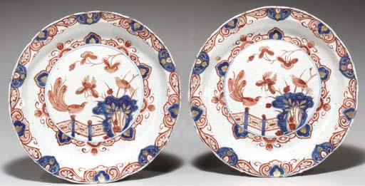 (2)  Two Delft doré lobed dish