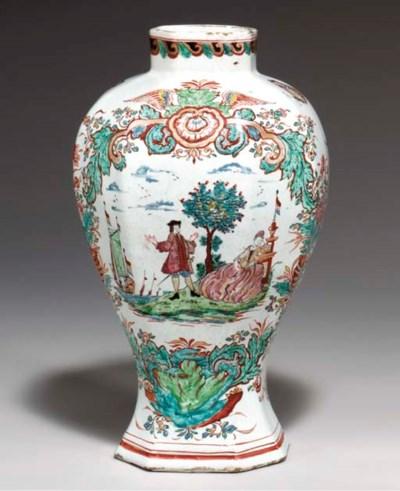 A Delft doré vase