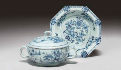 (3) A Delftware blue and white