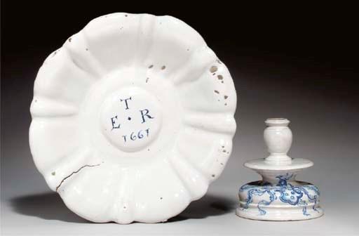 (2)  A white Delftware dish an