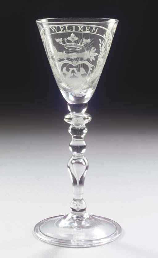 A Dutch-engraved light-baluste
