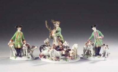 (3)  Three Meissen porcelain h