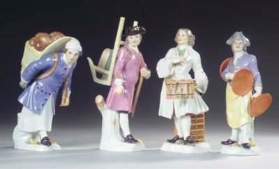 (4)  Four Meissen porcelain Cr