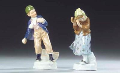(2) A pair of Meissen figures