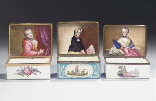 (3)  Three German enamel gilt-