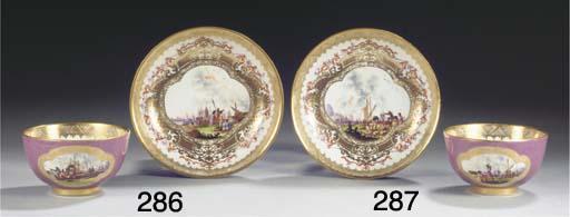 (2)  A Meissen porcelain gilt