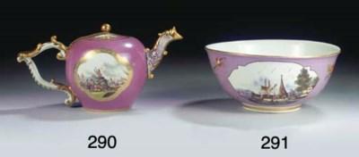 (2) A Meissen porcelain gilt p