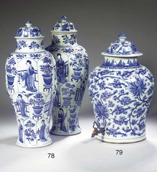 A pair of blue and white jars