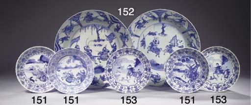 Three blue and white saucer di