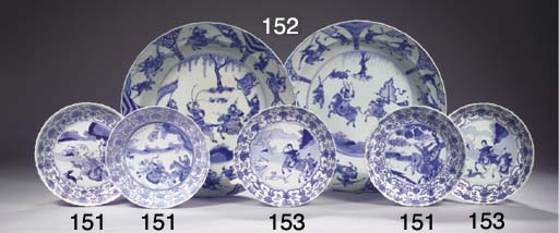 Two blue and white deep dishes