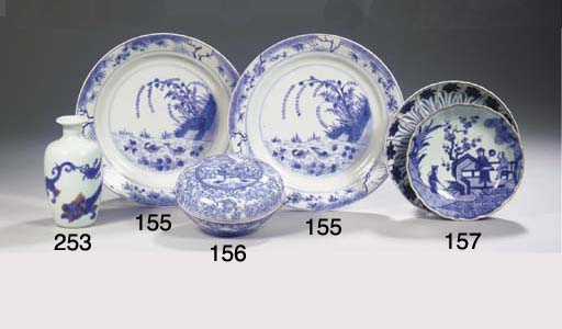 Two blue and white saucers