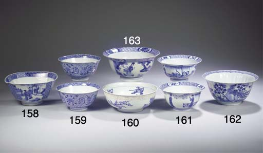 A blue and white square bowl