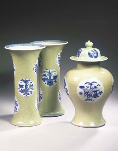A blue and white celadon-groun