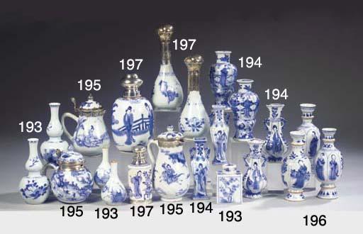 A blue and white silver-mounte