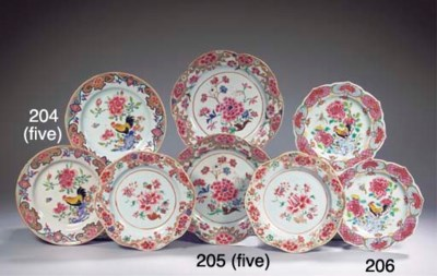 A set of five famille rose 'co