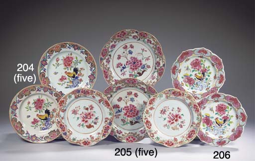 A set of five famille rose pla
