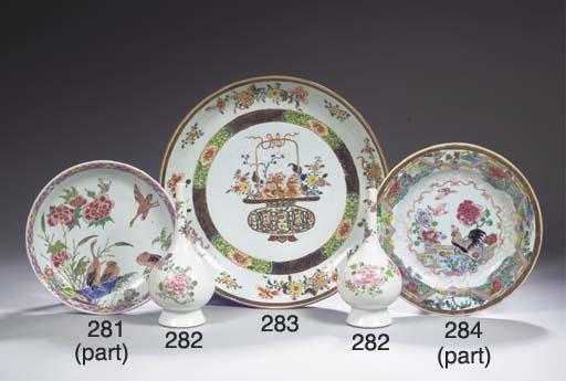 Three famille rose saucer dish