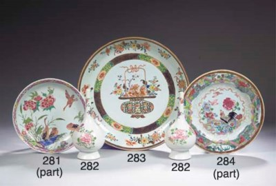 Three famille rose saucer dish