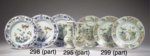 A set of six famille verte pla