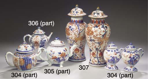 A pair of Imari vases and cove