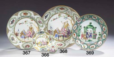 A famille rose 'Arbour' saucer
