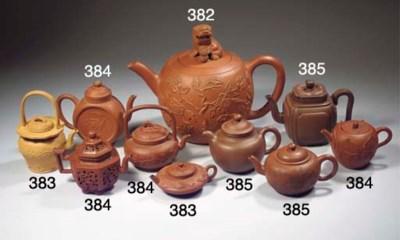 A group of six Yixing teapots