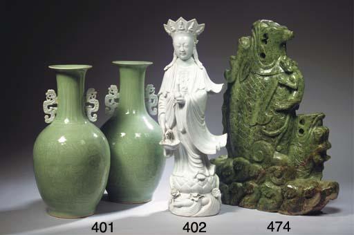 A pair of celadon vases
