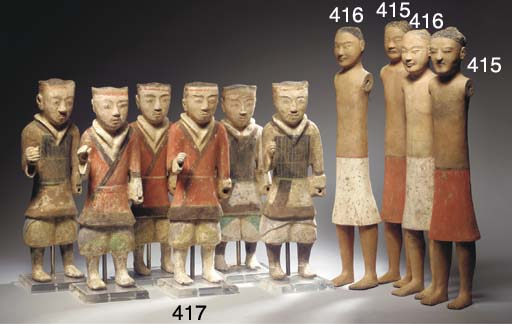 A set of six polychrome-painte