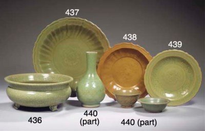 An assorted group of celadon w
