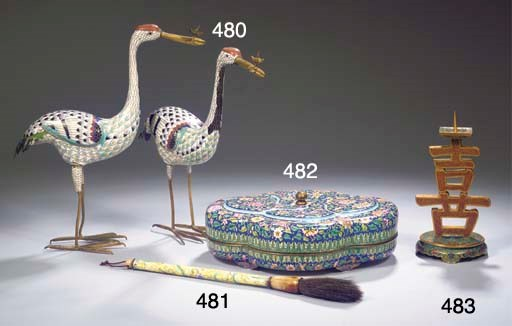 A pair of cloisonne models of