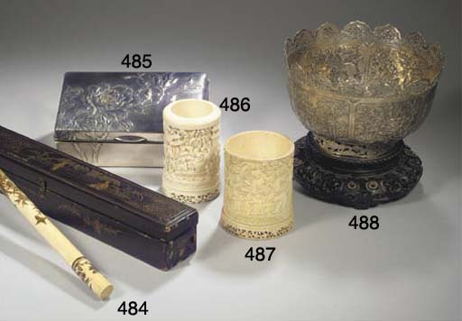 A Canton ivory brushpot