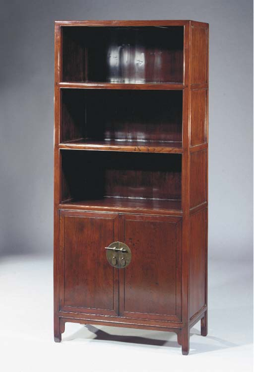 A laquered elm display cabinet