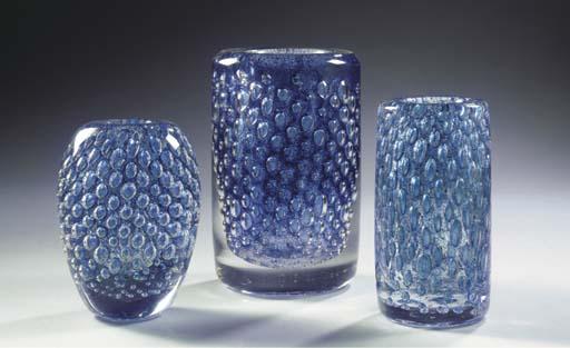 (3) THREE GLASS VASES