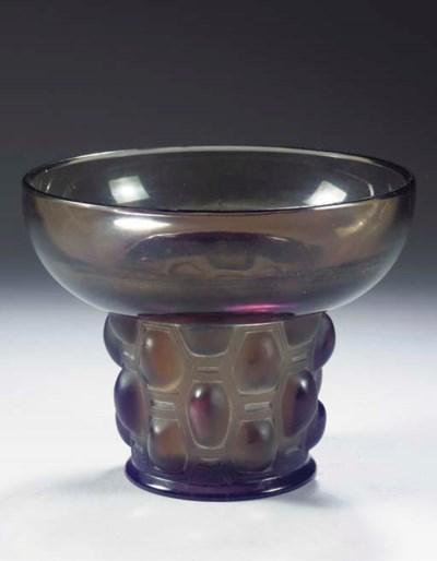 BEAUTREILLIS, A GREY GLASS VAS