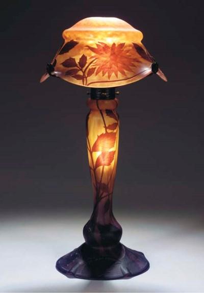 A CAMEO GLASS TABLELAMP
