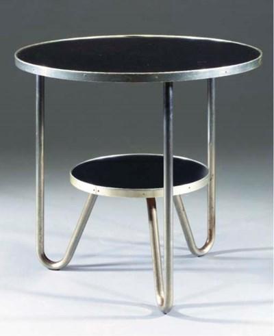 A tubular metal table