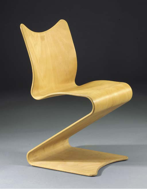 A wooden S-chair