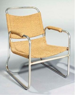 A tubular metal armchair