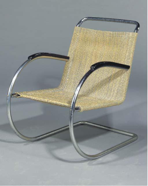 A tubular steel chair