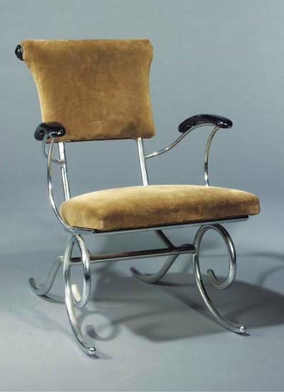 A tubular steel armchair