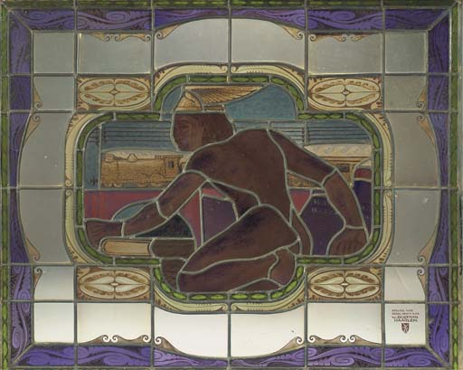 A leaded and stained glass pan