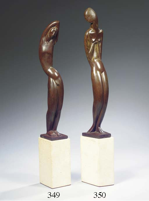 Standing nude, a bronze female