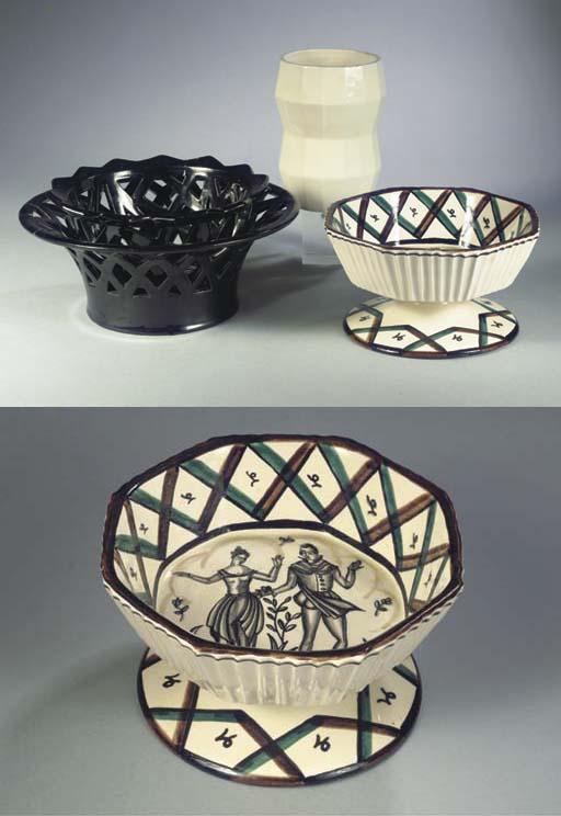 (4) A glazed pottery footed bo