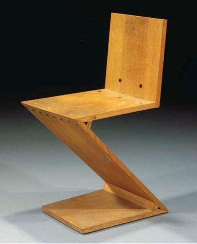 An elmwood zigzag chair